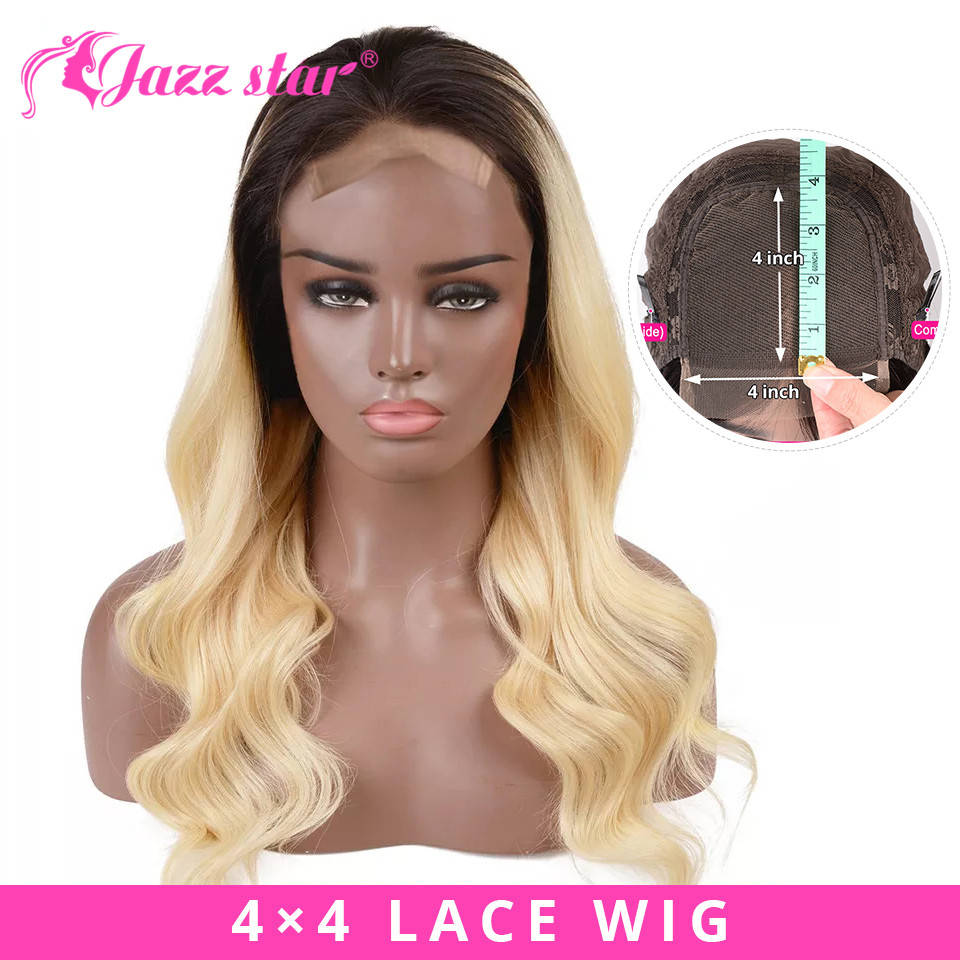 Brazilian Wig 4x4 Lace Closure Wig Ombre Body Wave Wig 1B/613 Colored Human Hair Wigs For Black Women Jazz Star Non Remy Hair