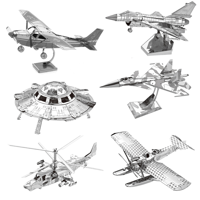 UFO SU34 Fighter 3D Metal Puzzle Model Kits DIY Laser Cut Assemble Jigsaw Toy Desktop Decoration GIFT For Audit Children
