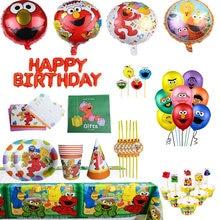 Sésamo rua fontes de festa tema elmo backdrops festa descartável conjunto pratos papel palhas guardanapos decoração aniversário