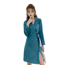 Women Trench 2019 New Fashion Full Sleeve Solid Casule High Waist Long Length Button Adjustable Waist Turn-down Collar Coat