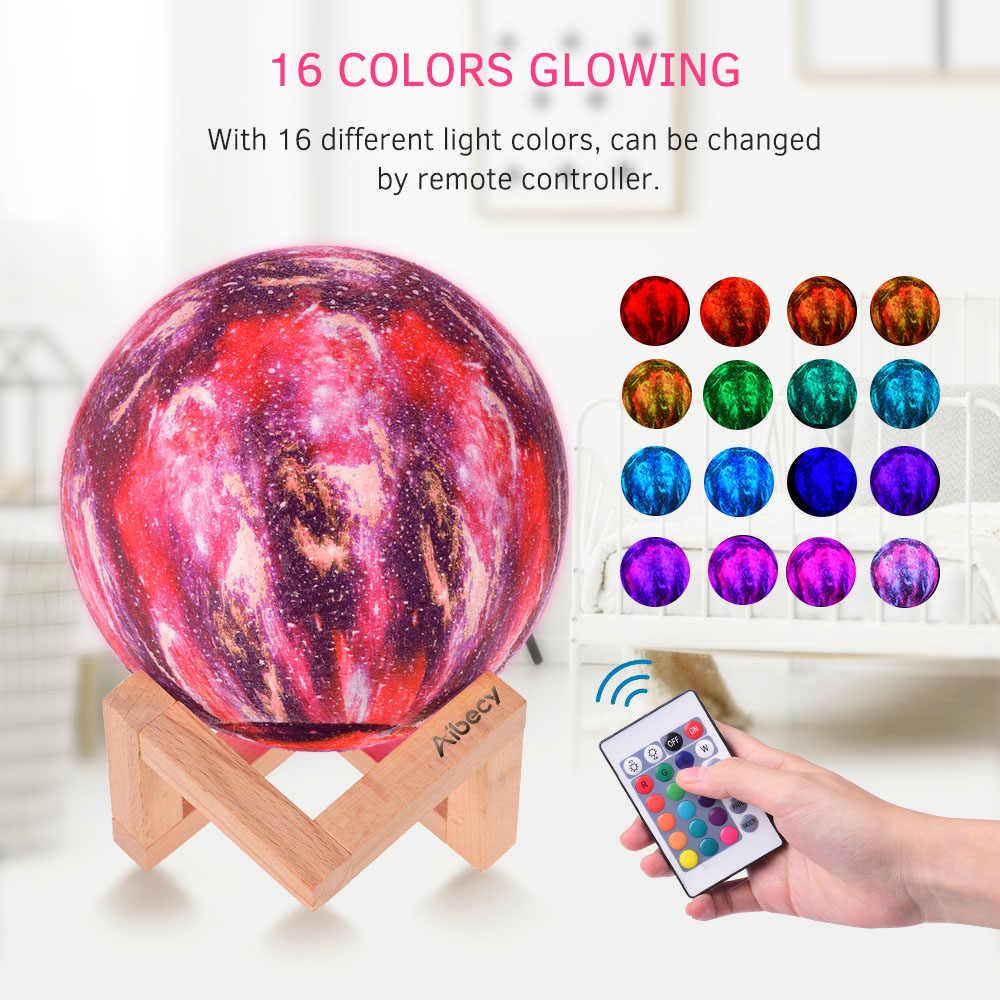3D הדפסת ירח מנורת לילה אור USB נטענת מגע/שלט רחוק ירח אור מתנה לילדים זרוק חינם 2 /3/16 צבעים