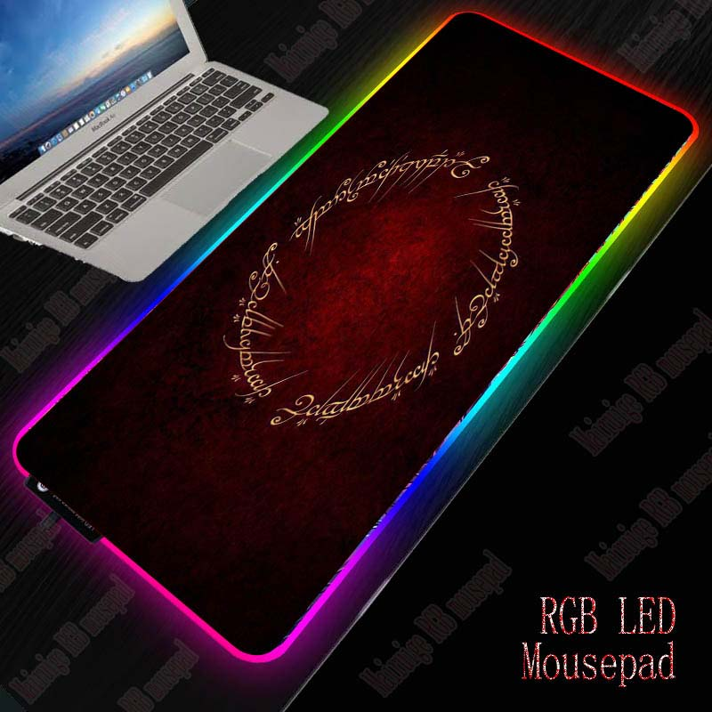 XGZ Lord of The Rings Large RGB Gaming Mouse Pad Gamer Keyboard Mousepad LED Light USB Wired Non-Slip Mouse Mice 7 Dazzle Colors 1