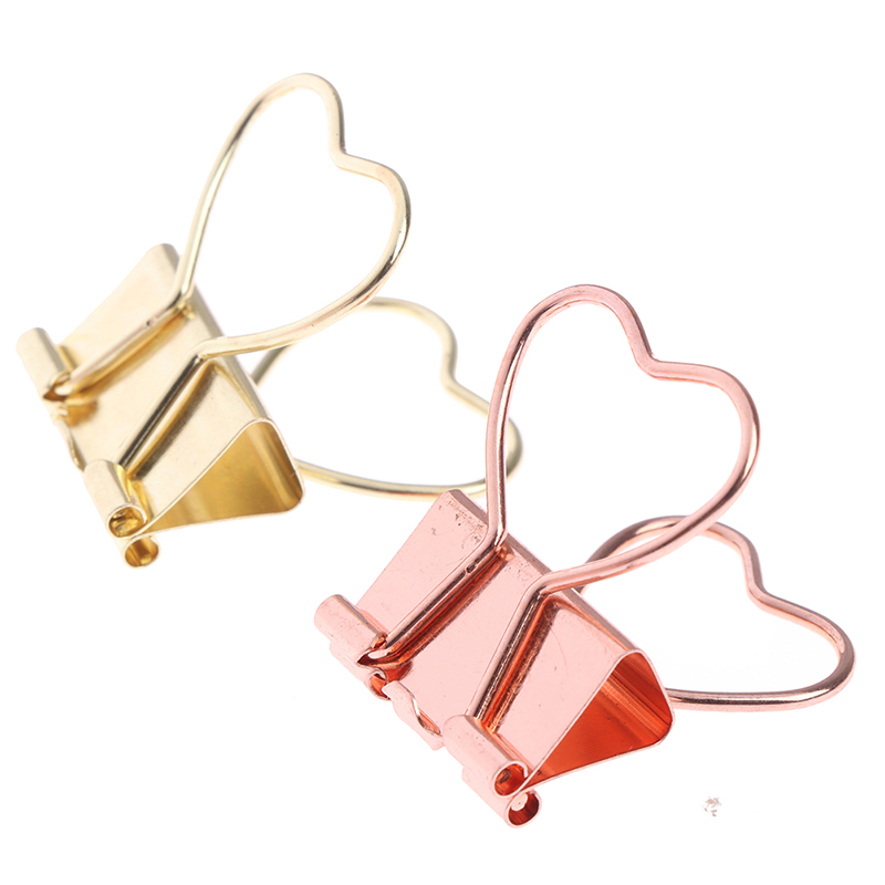 10 Pcs Fashion Gold Rose Gold Color Binder Clip Hollow Out Heart Shape Metal Binder Clips Photos Tickets Notes Letter Paper Clip