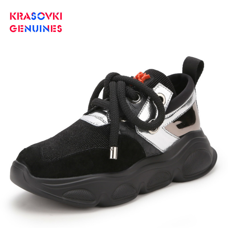 Krasovki Genuines Sneakers Women Autumn Thick Bottom Dropshipping Fashion Breathable Round Toe Lace Pigskin Leisure Women Shoes