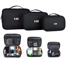 3 pces multi função acessórios organizador carry caso usb cabo de alimentação cartão de armazenamento da bateria viagem eletrônico gadget bolsa