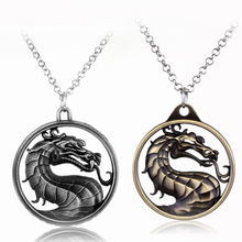 Game Dragon Pendant Necklace Mortal Kombat Theme Movie Drop Necklace Jewelry Silver Link Chain Accessories Jane Empire 3D Design