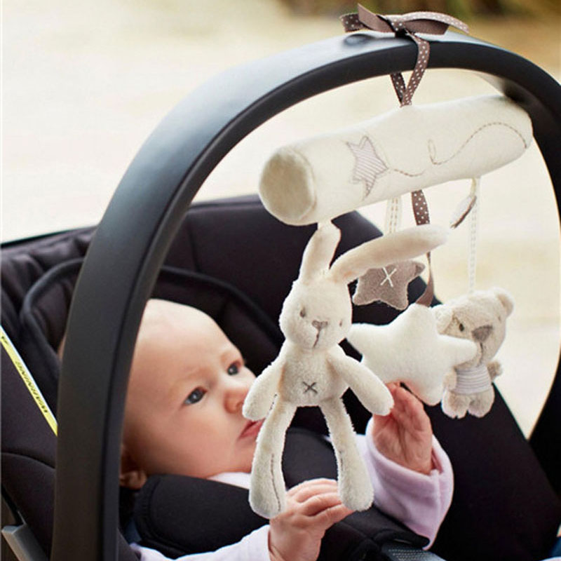 Children's Appease Rabbit Newborn Baby Rattles Music Hanging Bed Safety Seat Plush Toy Hand Bell Multifunctional Stroller Toy