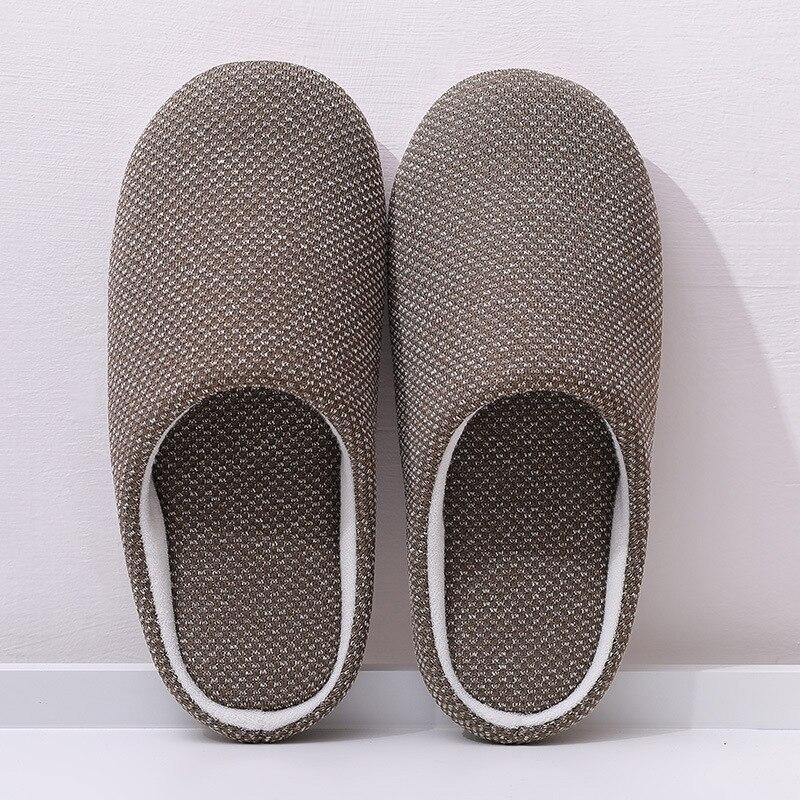 Mntrerm Indoor Slippers 2019 Spring Winter Flat Shoes Men Soft Sole Cotton Slipper Slip On House Bedroom Slippers