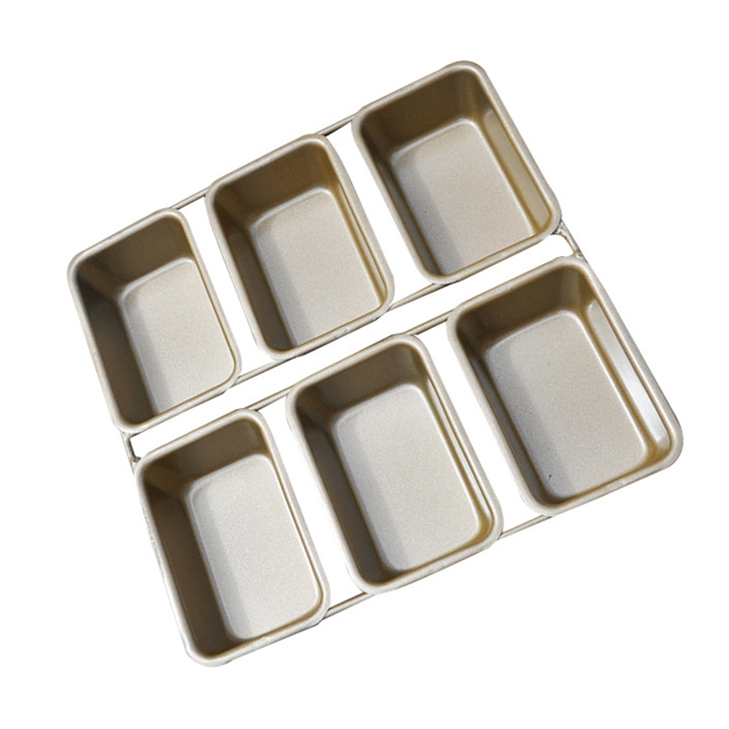 6 Mini Loaf Pan Rectangle DIY Cake Mold Non Stick Carbon Steel Bread Baking Mould Muffin Pan Cupcake Tray Party Kitchen Bakeware