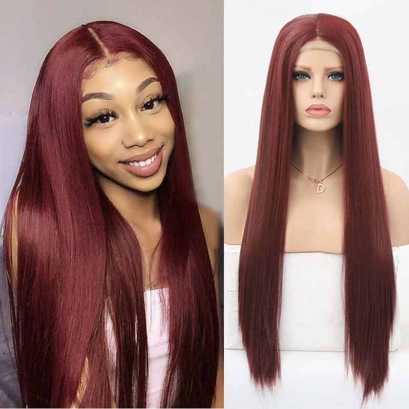 Charisma Burgundy Red Wig Heat Resistant Fiber Straight Hair Synthetic Lace Front Wig With Baby Hair Synthetic Wigs For Women