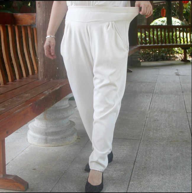 7xl בתוספת גודל משרד ליידי לבן מכנסיים נשים אלגנטי מקרית עיפרון הרמון מכנסיים אלסטיות גבוהה מותן כותנה פשתן נשים מכנסיים fw596