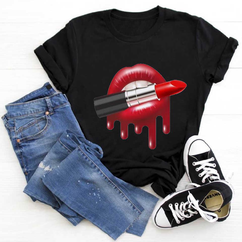 สีแดงปาก Lip T เสื้อความงามแฟชั่นผู้หญิง TShirt Tops หญิง 90s เสื้อยืด Harajuku Ulzzang กราฟิกฤดูร้อนเสื้อยืด TEE หญิง