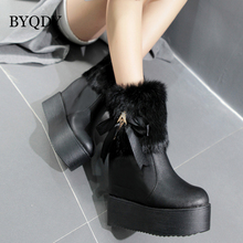 BYQDY Luxury Brand Woman Snow Boots Warm Platform Heels Shoes Black Fur Winter Ankle Round Toe Increasing Height Short Boot
