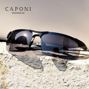 Image 1 - Caponi偏光サングラス男性ヴィンテージスポーツフォトクロミックための定番ブランドデザイナーサングラス男性UV400 BS3218