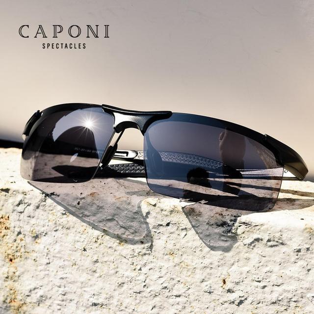 Caponi偏光サングラス男性ヴィンテージスポーツフォトクロミックための定番ブランドデザイナーサングラス男性UV400 BS3218