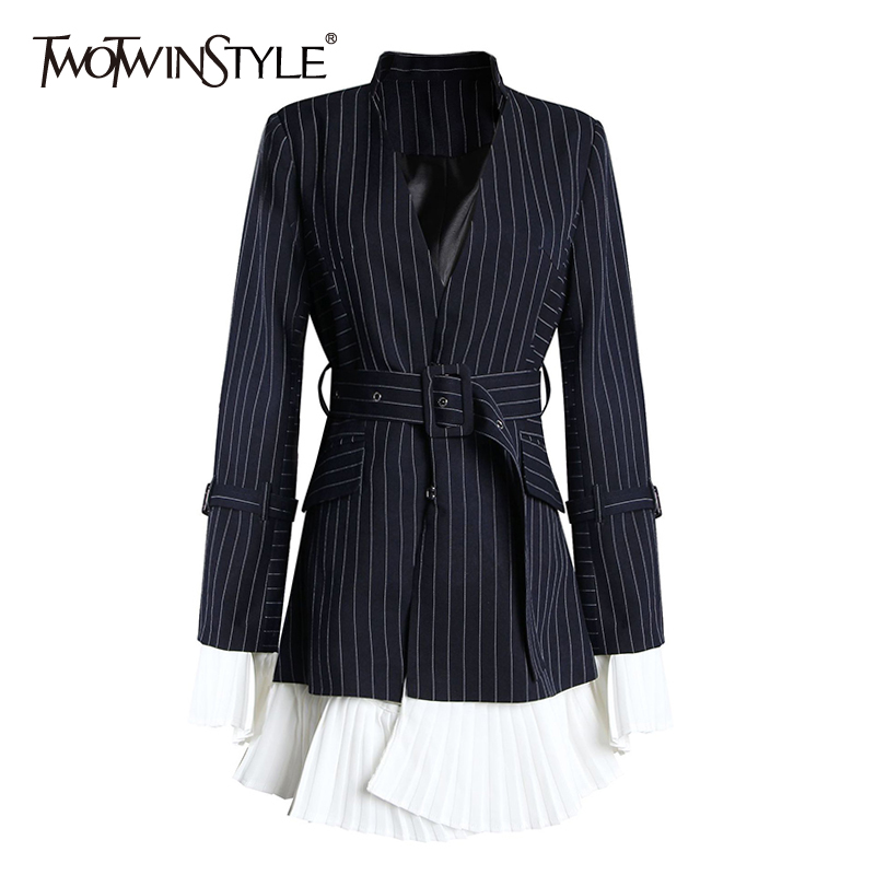 TWOTWINSTYLE Striped Women's Blazer Notched Cllar Long Sleeve Sashes Hem Hit Color Patchwork Elegant Coats Female 2020 New