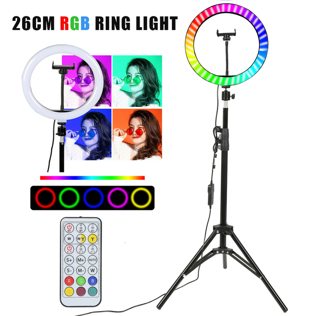 26cm Colorful RGB Ring Light with Stand Phone Tripod Lighting Ring Light with Remote Phone Camera Holder for Tiktok Photo Video