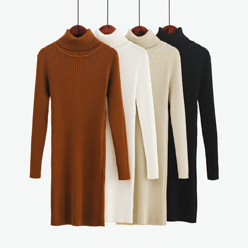 Korean Sweater Dress Fashion Women Knitted Dresses Elegant Women Turtleneck Sweaters Dress Knitting Cotton Winter Women Dresses