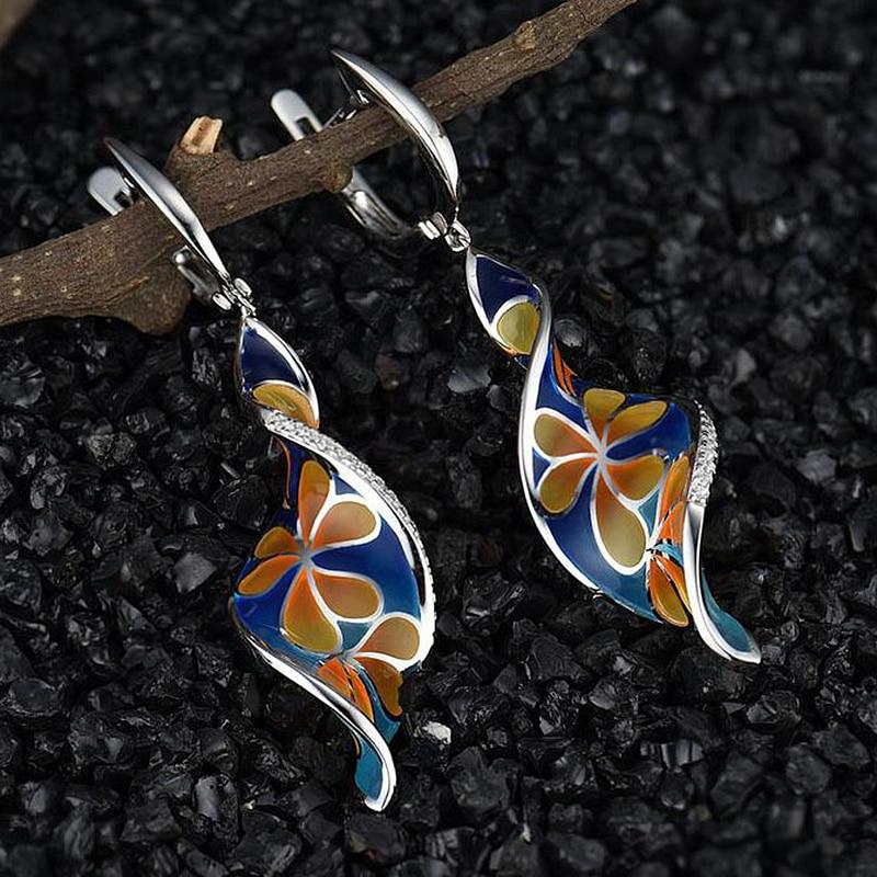 Fashion Women Twist Spiral Dangle Earring Creative Orange Flower Blue Long Drop Earrings For Women Tassel Jewelry O5D366