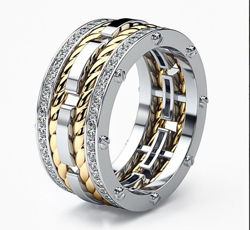 BAOSHINA-anillo de compromiso para hombre, diseño de cuerdas, dos anillos circulares de cristal