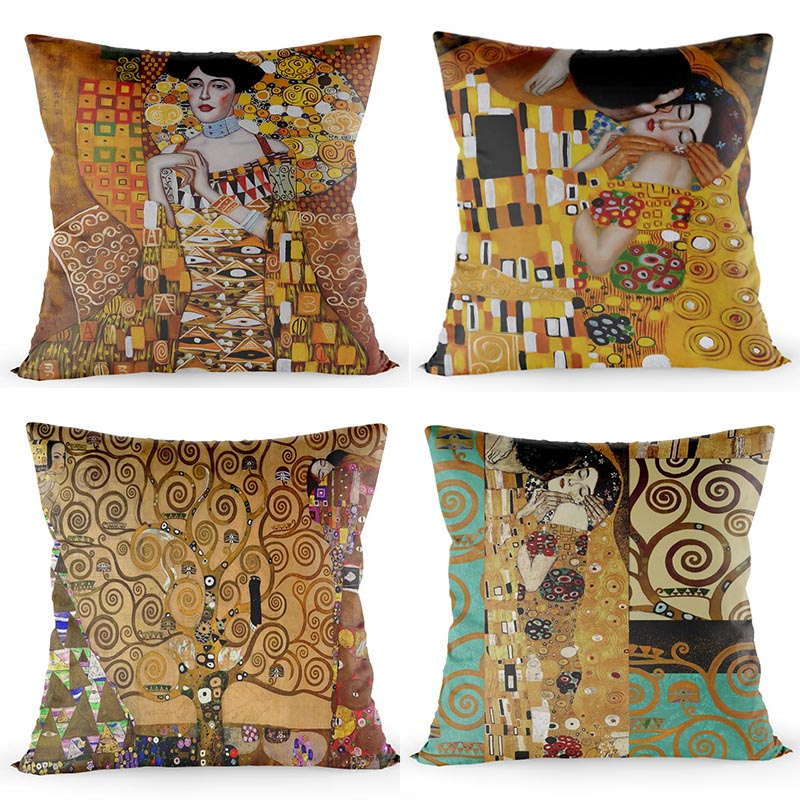 Custom Gustav Klimt Lebensbaum Pillow Case Size 40*40cm Square Zipper Cover Home Decorative Pillow Cover Drop Shipping image