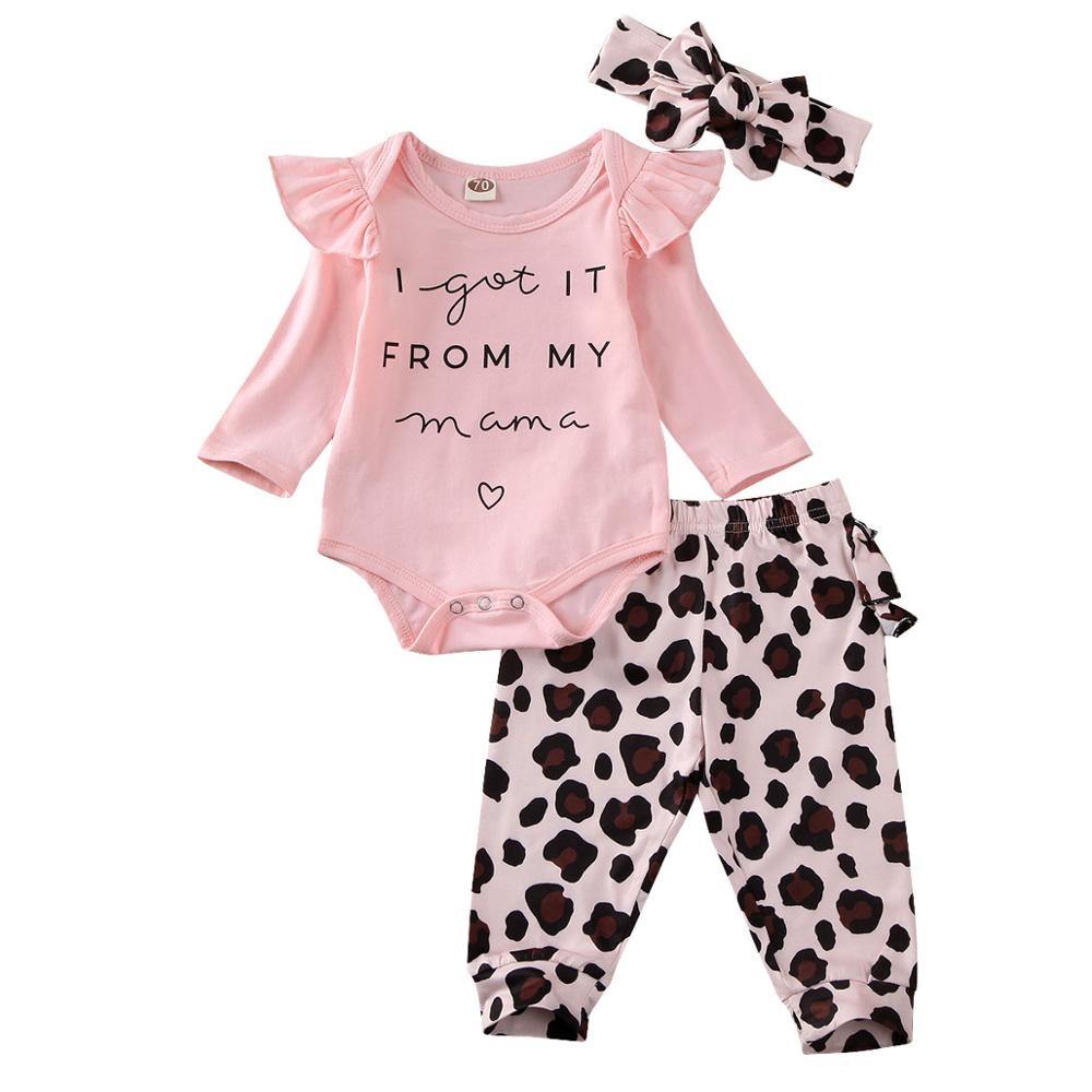 0-18M 3PCS Newborn Infant Baby Girl Clothes Set Off Shoulder Pink Ruffle Romper Leopard Pants Leggings Headband Outfit