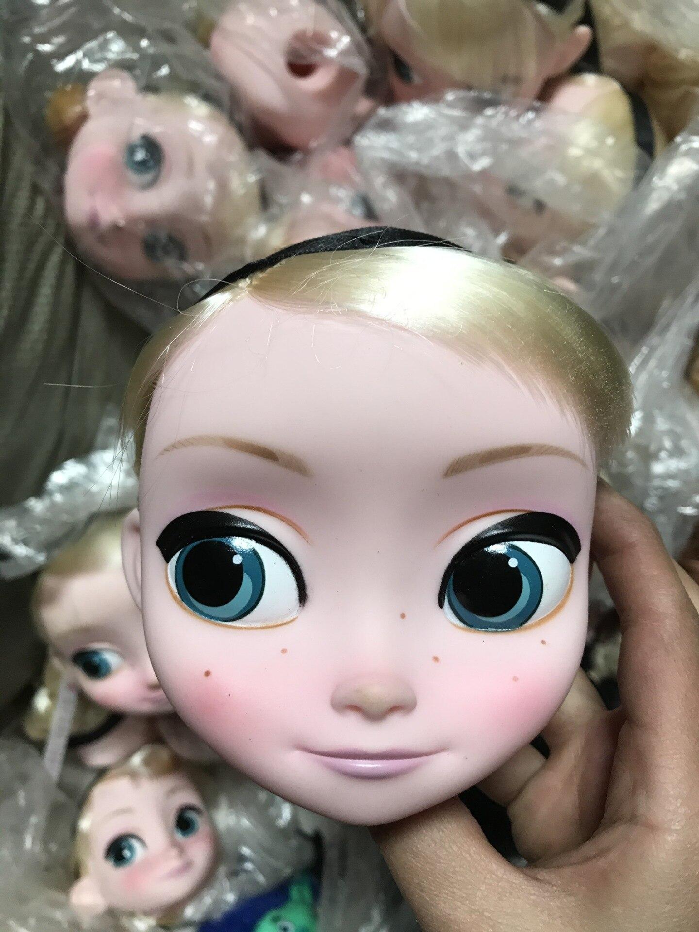 Cute Princess Elsa Salon Doll Head DIY Make Up Toy Birthday Gift Model Decoration