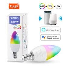Tuya e14 inteligente wifi lâmpada 5w rgb + w + c pode ser escurecido lâmpada led 110-240v ac temporizador de controle de voz lâmpada mágica para casa decoração ao ar livre