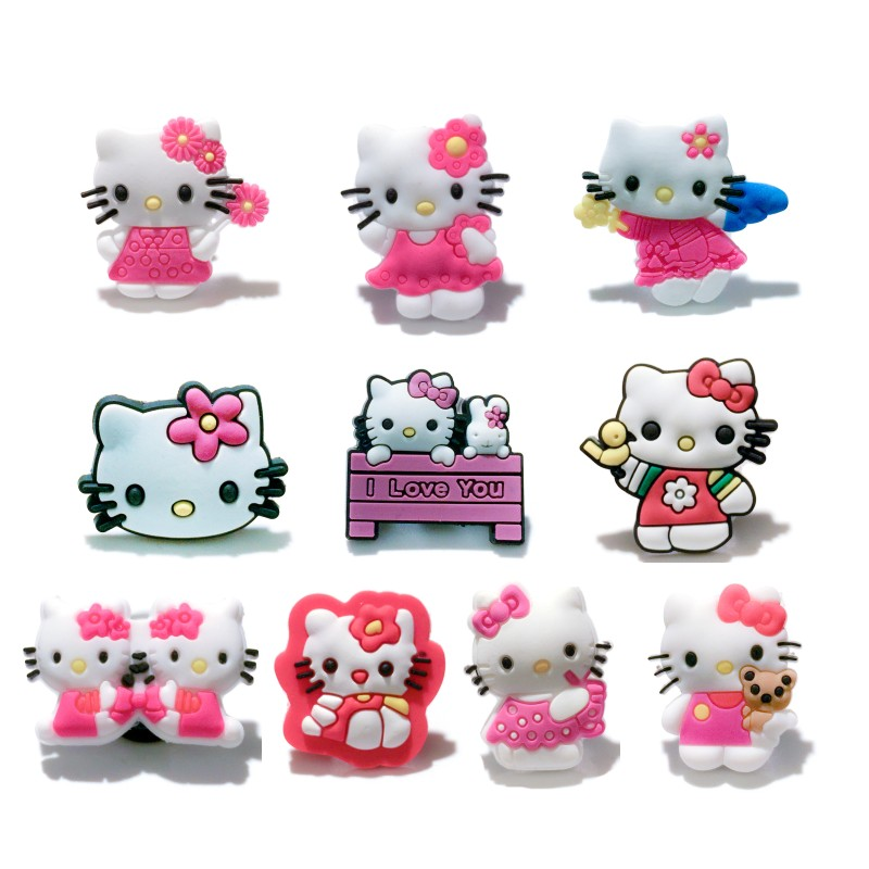 Single Sale 1pc Kitty PVC Shoe Charms Shoe Accessories Buckles Ornaments Fit Bands Bracelets Croc Decoration JIBZ Kids Gift