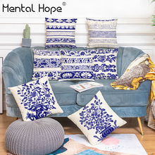 Classical Chinese Style Geometric Printed Cushion Cover Flower Pattern Throw Pillow Cover Home Decor Linen Cotton Pillowcase chinese style paisley pattern square shape flax pillowcase without pillow inner