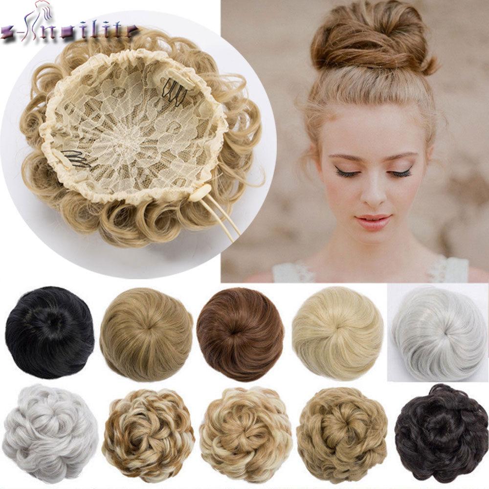Snoilite Drawstring Clip In Chignon Hair Bun Synthetic Bun Hair Piece Drawstring Updo Hair Buns Women Curly Chignon Hair