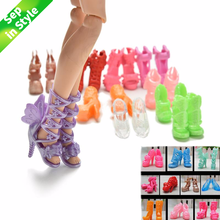 Wholesale 20Pcs/Lot Color Random Fashion Fixed Styles Doll Shoes Bandage Bow High Heel Sandals for  Dolls Accessories Toys