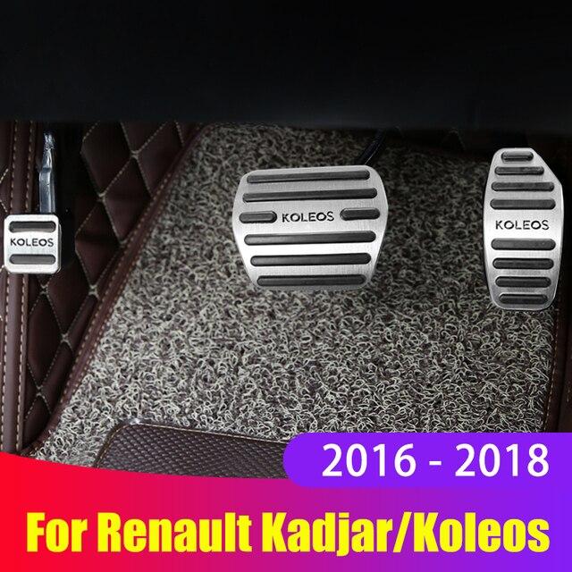 Pédales daccélérateur de voiture, frein de voiture, en alliage daluminium, couvercle antidérapant pour Renault Kadjar Koleos 2016, 2017 et 2018, accessoires