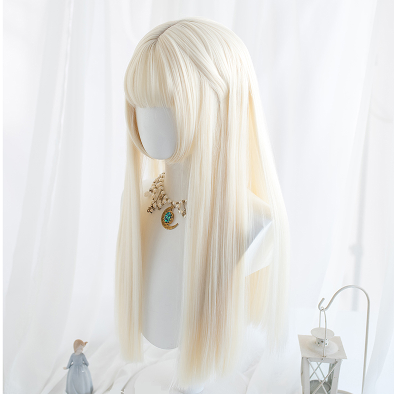 General Daily Lolita Cosplay Wigs High-temperature Fiber Synthetic Hair Beige Long Natural Straight Hair+free Hair Net
