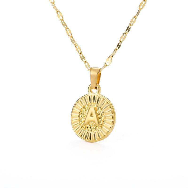 A-Z initiale lettre ronde pendentif collier pour femmes en acier inoxydable or tour de cou rond pièce lettre colliers Valentine bijoux