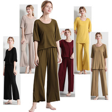 Women's Home Wear Suit Knitted T-shirt Wide Leg Pants Spring Casual Pajamas