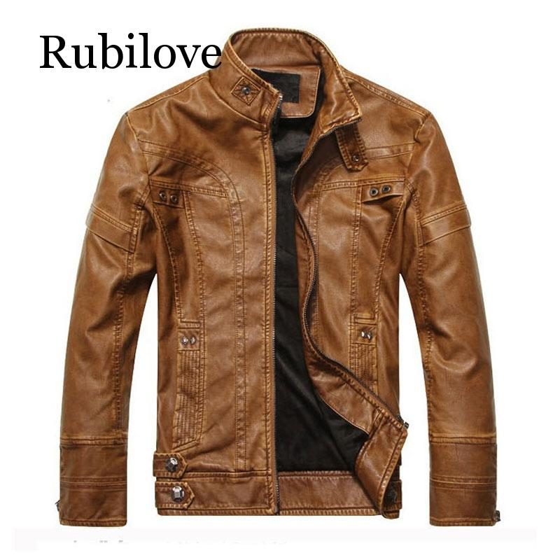 Rubilove New arrive brand motorcycle leather jacket men  mens masculina jackets coats