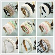 Diadema Vintage de perlas de imitación hecha a mano para mujer, diadema de perlas de esponja Beige elegante, accesorios para el cabello fiesta de Boda nupcial