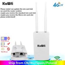 Roteadores exteriores impermeáveis de kuwfi 4g cpe do roteador 150mbps cat4 lte roteadores 3g/4g cartão sim roteador wi-fi para a câmera ip/cobertura exterior de wifi