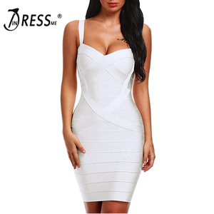 Image 4 - INDRESSME 2020 Bandage Dress Sexy Mini Spaghetti Strap Bodycon Strapless Club Party Summer Lady Dresses Femme Vestidos