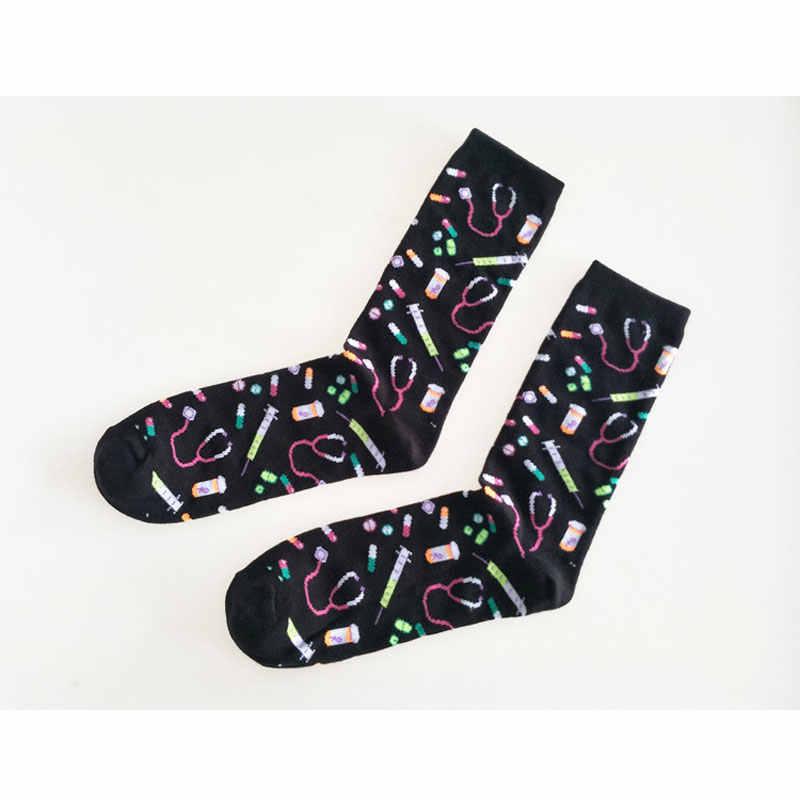 Männer Socken Baumwolle Lustige Krankenhaus Geräte glückliche männer baumwolle Socken Atmungsaktiv Und Schweiß Absorbieren Neuheit Casual Dressing Socken