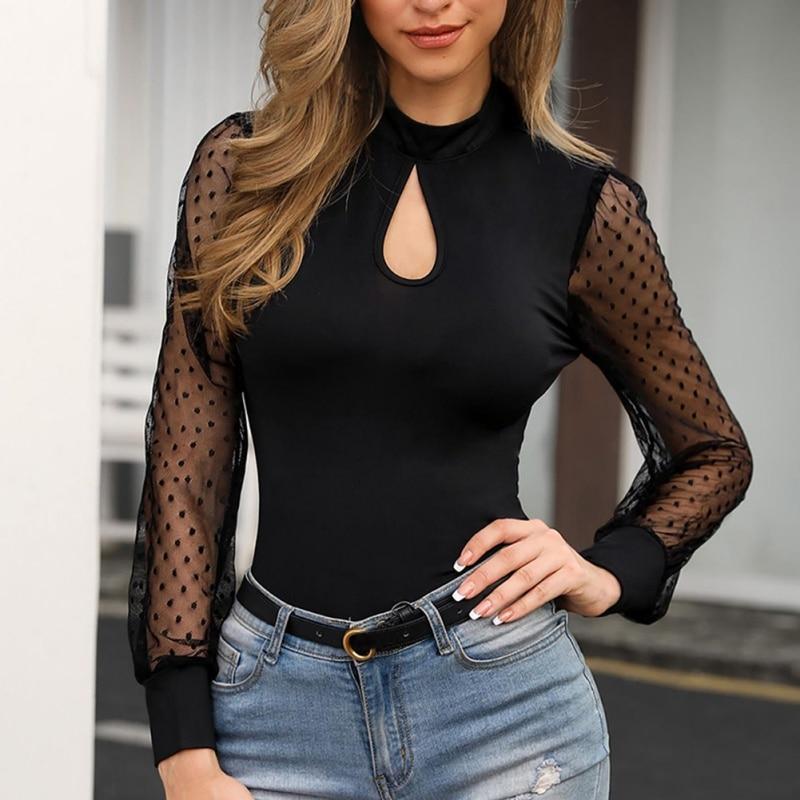 Women Jumpsuit Sexy Lace Mesh Stitching Long Sleeve Bodysuit Fashion Polka Dot O Neck Casual Bodysuit Women   Rompers   female H