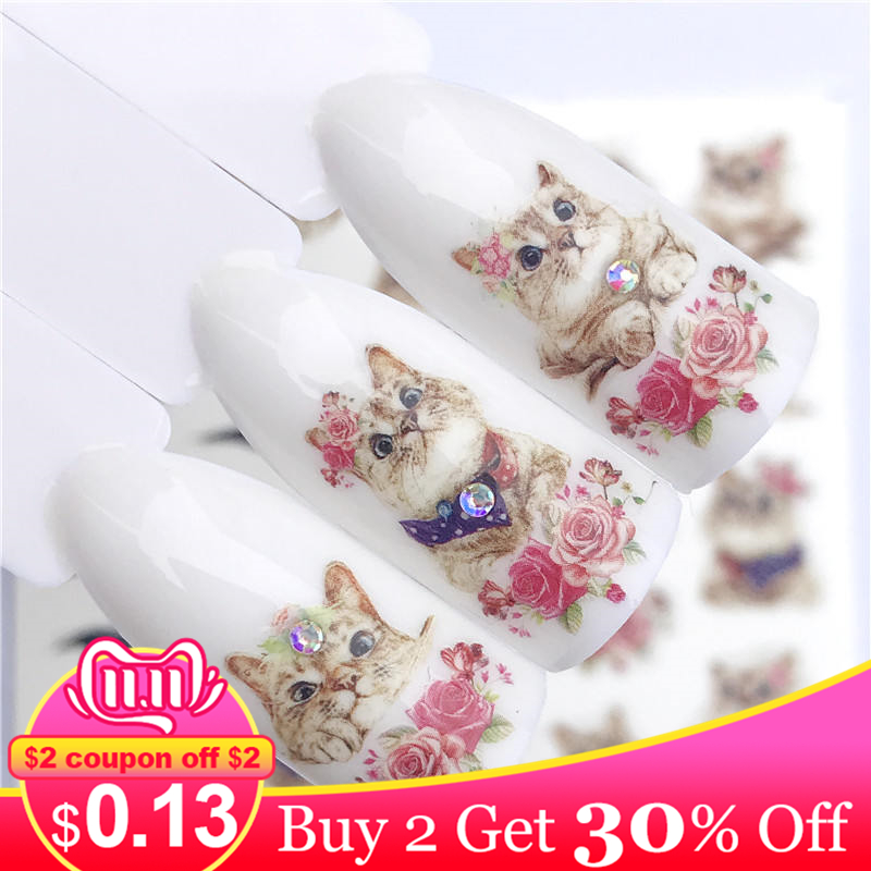 Zko 1 pc etiqueta do prego quente líder gato nó/flor beleza transferência de água carimbando dicas da arte do prego decoração do prego manicure decalque