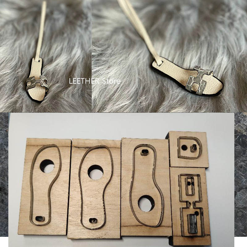 Japan Steel Blade DIY Leather Craft Mini Cute Shoes Design Bag Key Ring Hanging Decoration Wooden Die Punch Mould Tool Template