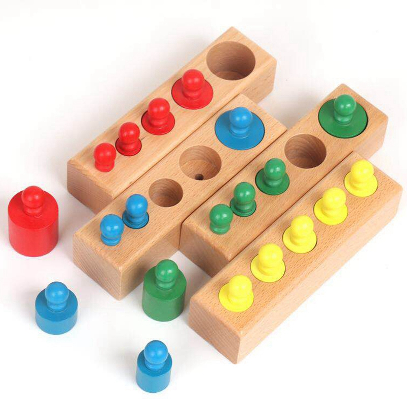 Hot Home-Sized Wooden Knobbed Cylinders Socket Family Pack Early Learning Education Toy 4Pcs/Set