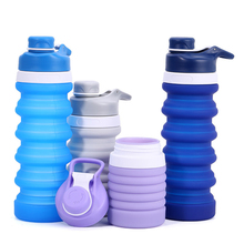 1Pc Portable Folding Water Bottle Travel Outdoor Sport Retractable Lead-proof Kettle Collapsible Silicone Drinking Bottles 550ML