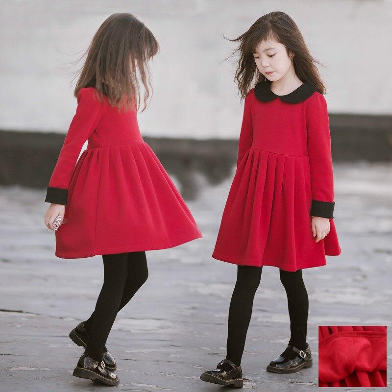 Зимнее платье для девочек детская одежда с длинными рукавами из красного бархата для принцессы вечерние платья из флиса для подростков элегантные костюмы для девочек от 3 до 14 лет