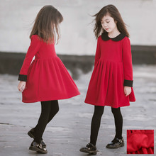 Girls Winter Dress Princess Red Velvet Long Sleeve Kid Clothes Teen Fleece Party Elegant Costumes Kids 3 To 14 T