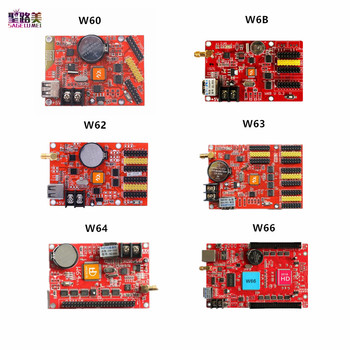 цена на Huidu HD W60 W60-75 W6B W62 W63 W64  W66 Wifi & U-Disk ports 1024*32~2048*512 single color dual color led display control card