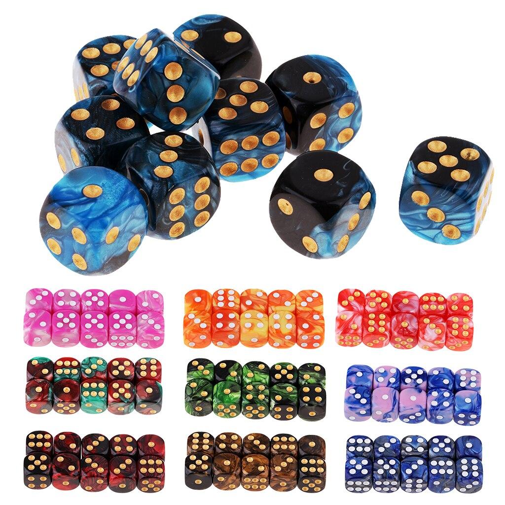 10 pces 6-sided conjunto de dados cores brilhantes 16 mm dados de jogo para jogos presentes do casino ensinando jogo de mesa de jogo diques